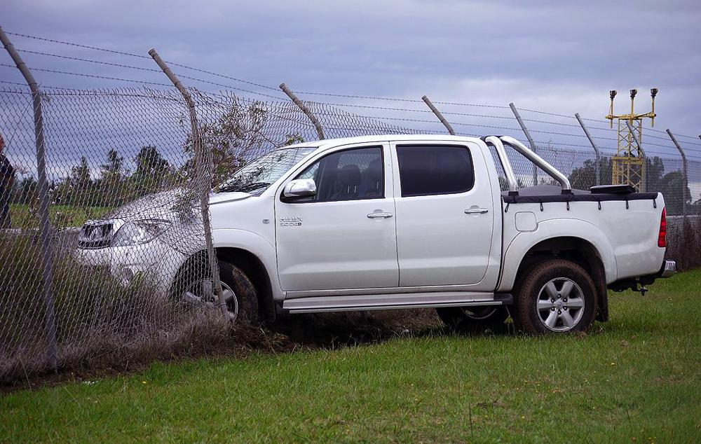 Pick up truck crashed into fence