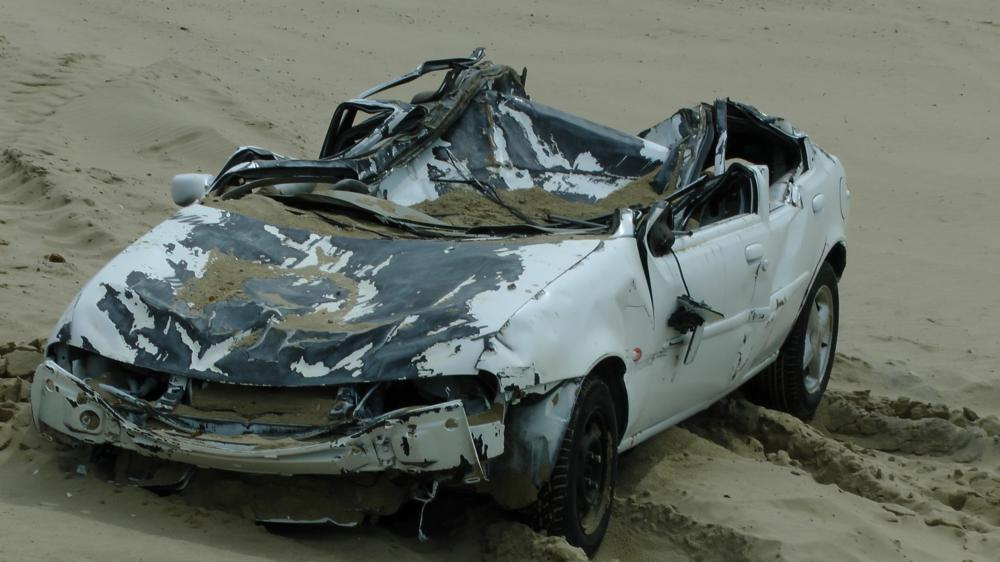 Destroyed car