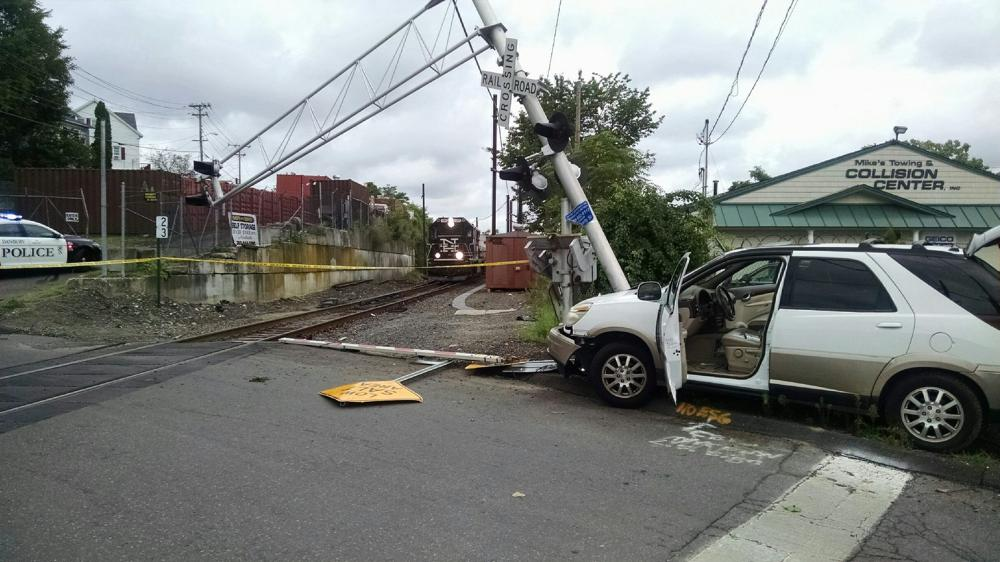 Car crashed into a a rail road signal