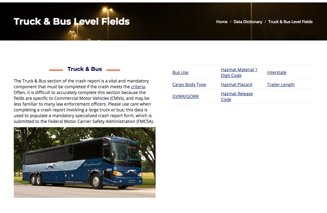 Truck and bus level fields on a crash report